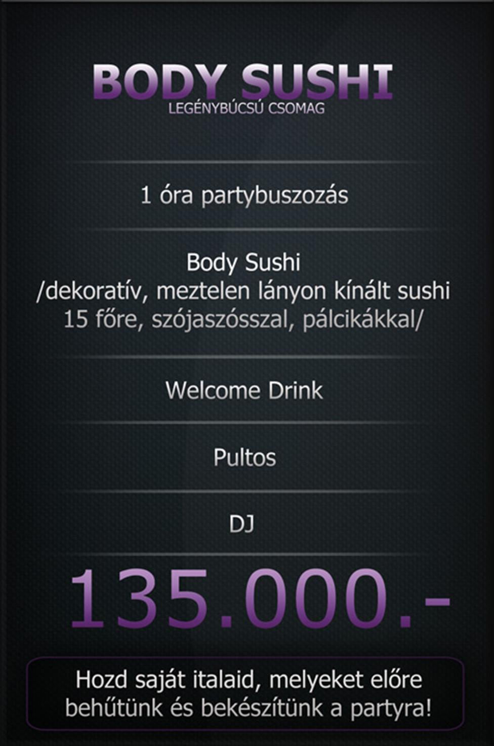 Body Sushi legénybúcsú